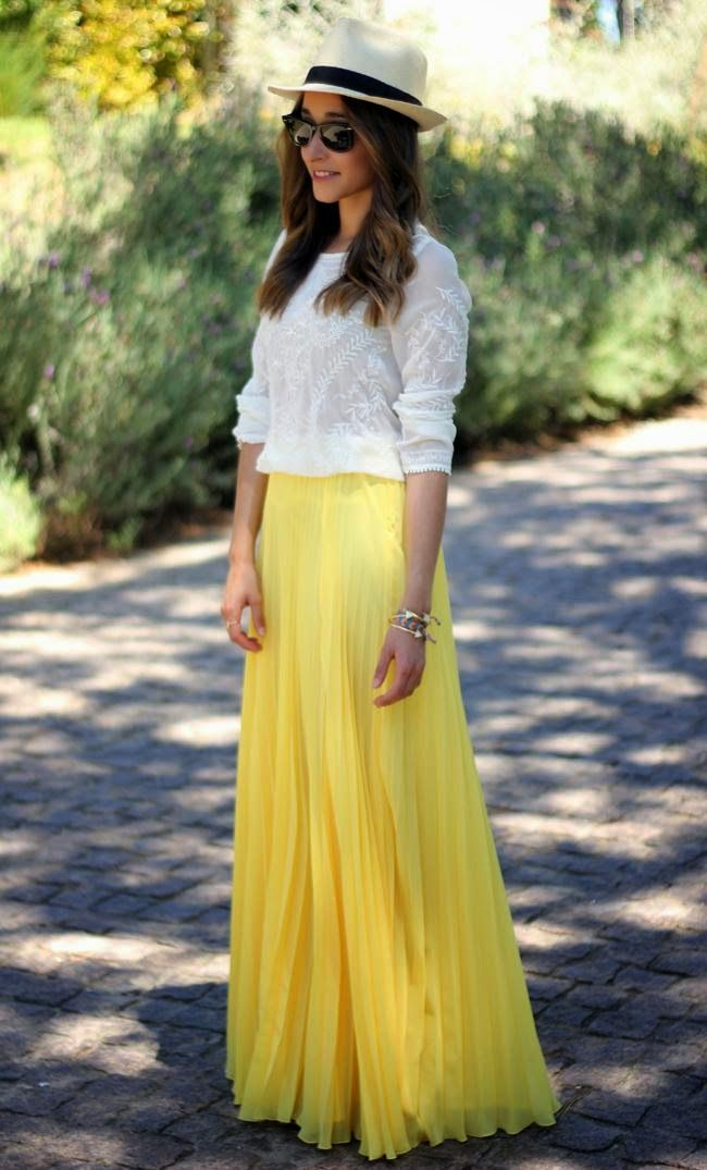 see more Amazing Yellow Maxi Skirt with White Sleeve Blouse and Beautiful Hat