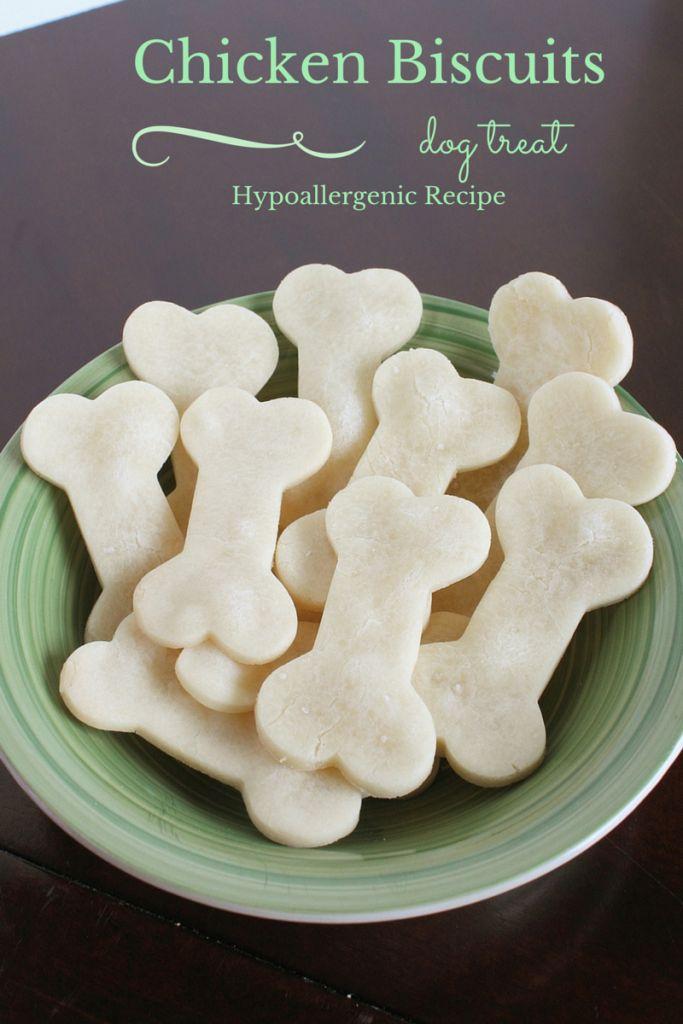 Gluten free rice flour and chicken broth   Chicken Biscuit Homemade Hypoallergenic Dog Treats Recipe