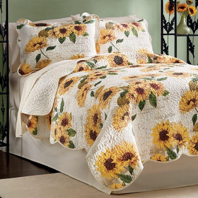 Sunflower Script Quilt Bedroom Decor Bedspreads Rustic
