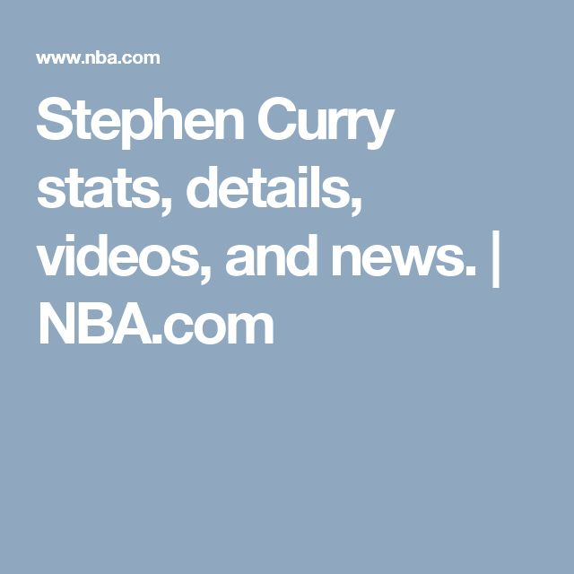 Stephen Curry stats, details, videos, and news. | NBA.com