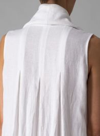 Linen Sleeveless Cowl Neck Long Dress - White