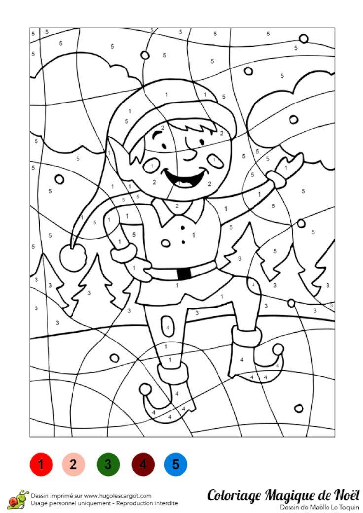 Coloriage magique d'un petit lutin de Noël | Coloriage magique, Jeux coloriage, Jeux de ...
