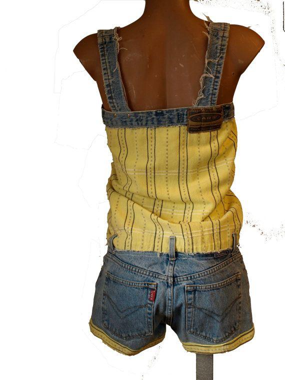 korte zomer jumpsuit van gerecycled Cars jeans en gele door pepavana