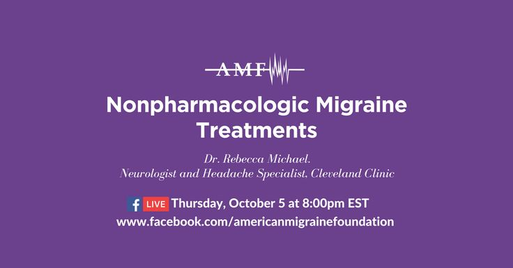 Explore your nonpharmacologic treatment options for migraine with Dr. Rebecca Michael, a neurologist and headache specialist at the Cleveland Clinic. She'll be discussing biofeedback and cognitive behavioral therapy on the American Migraine Foundation Facebook page on Thursday, October 5 at 8:00pm EST. Comment on this post with questions or issues you'd like her to address, or ask them live on Thursday.