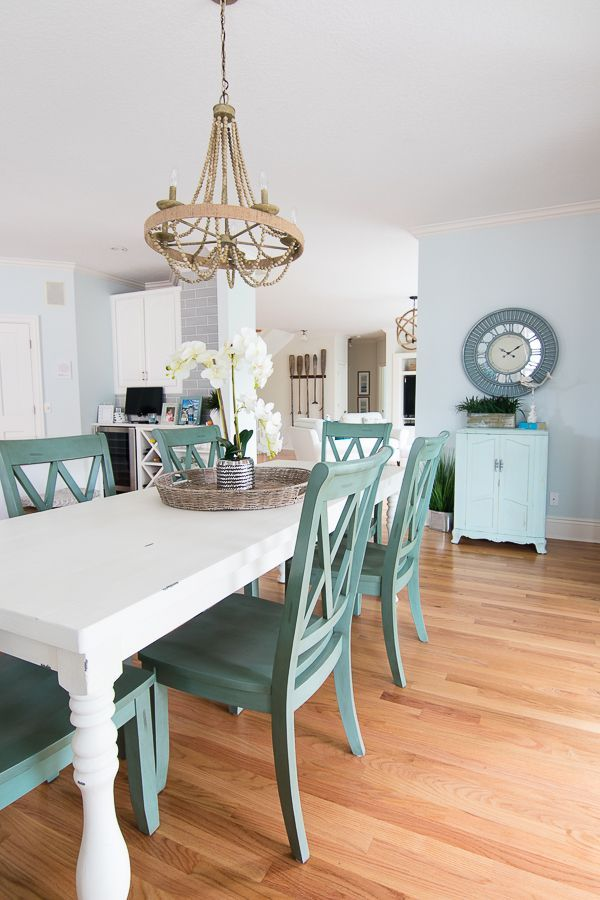 Minimalist Industrial Decor Coastal Dining Room Paint Is Topsail By Sherwin Williams In 2020 Coastal Dining Room Beach Dining Room Coastal Dining Room Table