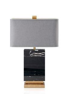 【Lightingest】Moedn American example simple black marble table cloth lamp【最灯饰】现代美式简约黑色大理石布罩台灯