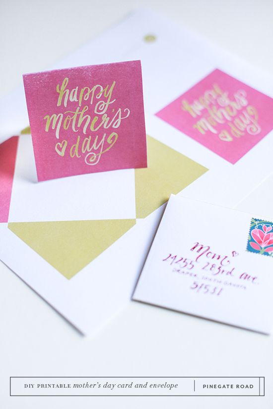 Mother's Day card and envelope printable | supplies | Pinegate Road