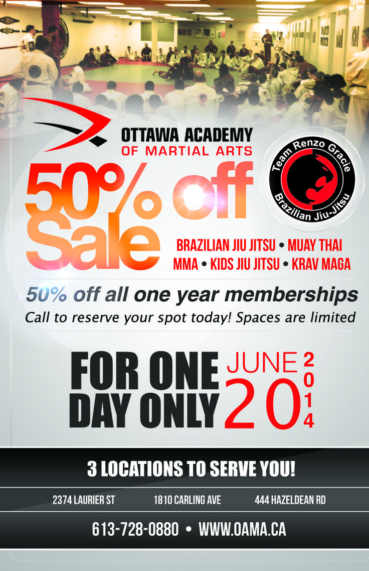 Today is the day! 50% off all memberships today only! call to sign up 613-831-7900!