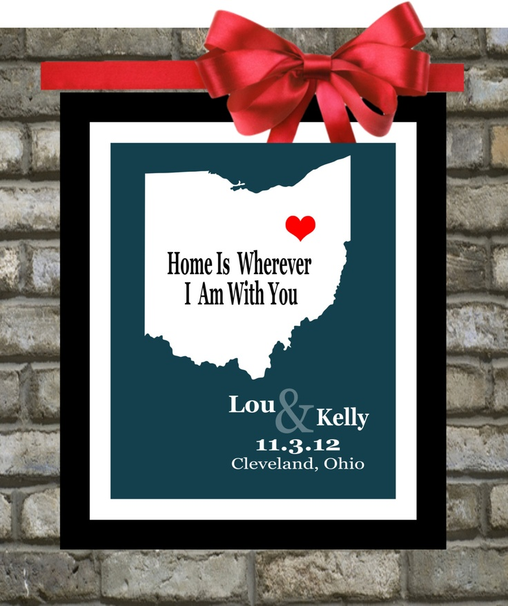 Personalized Wedding Gift Map: Akron Ohio Wedding