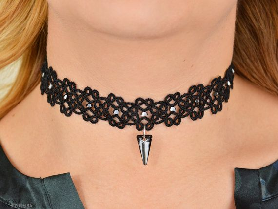 Zwarte tatting choker ketting met Swarovski® kristallen