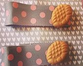 Sweet Bee Biscuit Barrettes Hair Clips Grey Polka Dot Pink   Available on Etsy