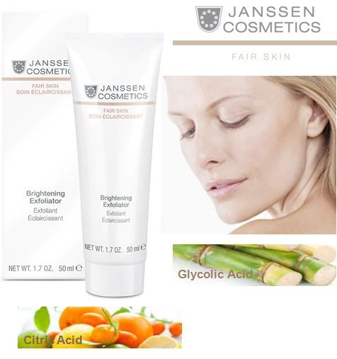 Brightening Exfoliator • Removes dark-pigmented dead layers of skin • Stimulates the formation of new skin cells • Promotes a fine-pored, clear skin profile • Specially formulated for radiantly bright and more even skin tone http://www.janssen-cosmetics-shop.ie/janssen-cosmeceutical/face/fair-skin/brightening-exfoliator.html