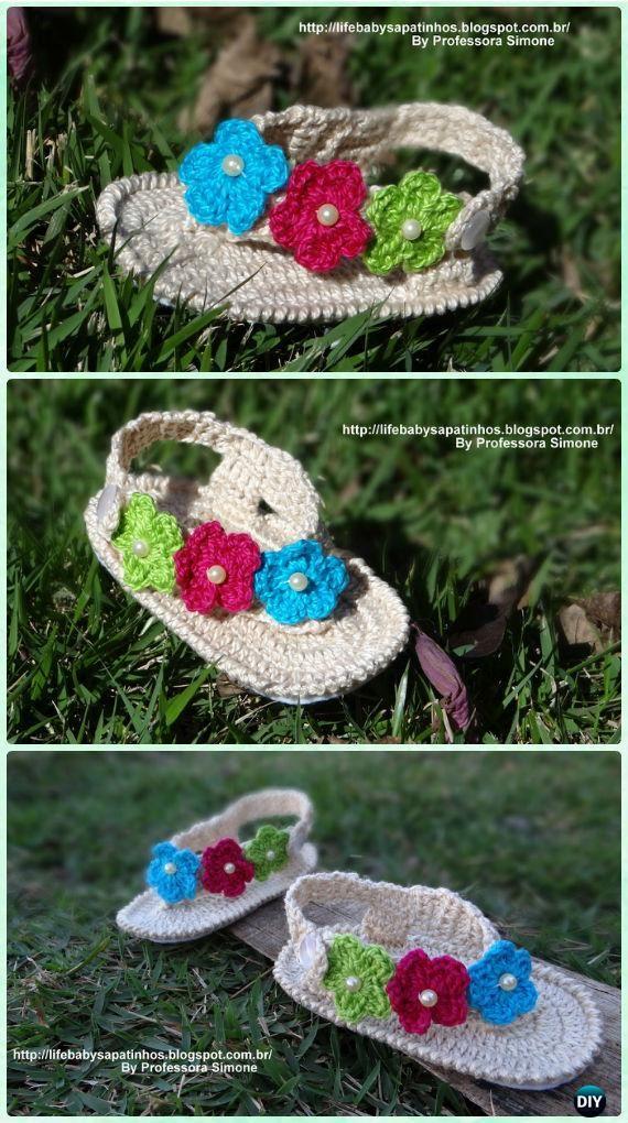 Crochet Spring Flower Flip Flop Sandals Free Pattern - #Crochet Baby Flip Flop Sandals [FREE Patterns]