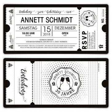 Geburtstag Einladungen Schwarz Weiss Ticket Weisse Version Ticket