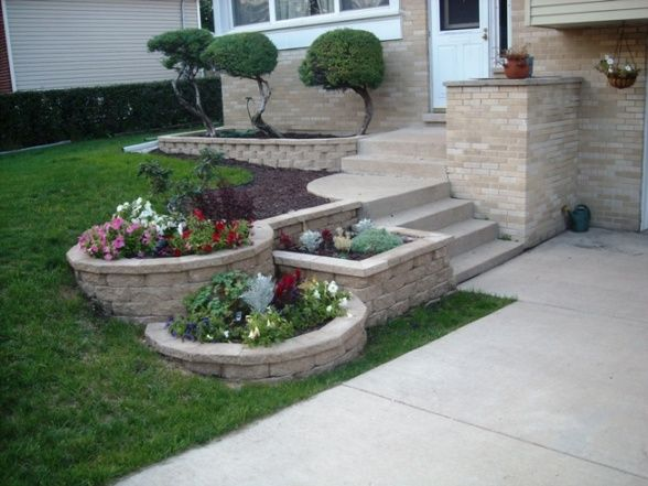 3 tier landscape with landscape blocks - DIY, About 400 patio blocks and 3 summers., Yards Design