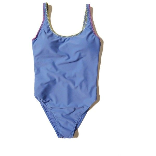 Hollister Low-Back One-Piece Swimsuit (£35) ❤ liked on Polyvore featuring swimwear, one-piece swimsuits, blue, one piece swimsuit, 1 piece bathing suits, 1 piece swimsuit, low cut back swimsuit and low back swimsuit