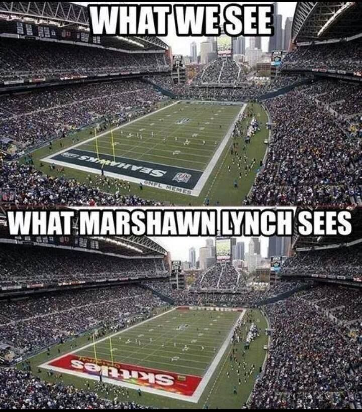 Marshawn Lynch has Skittle-vision