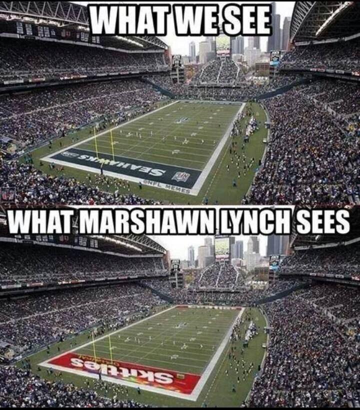 Marshawn Lynch has Skittle-vision