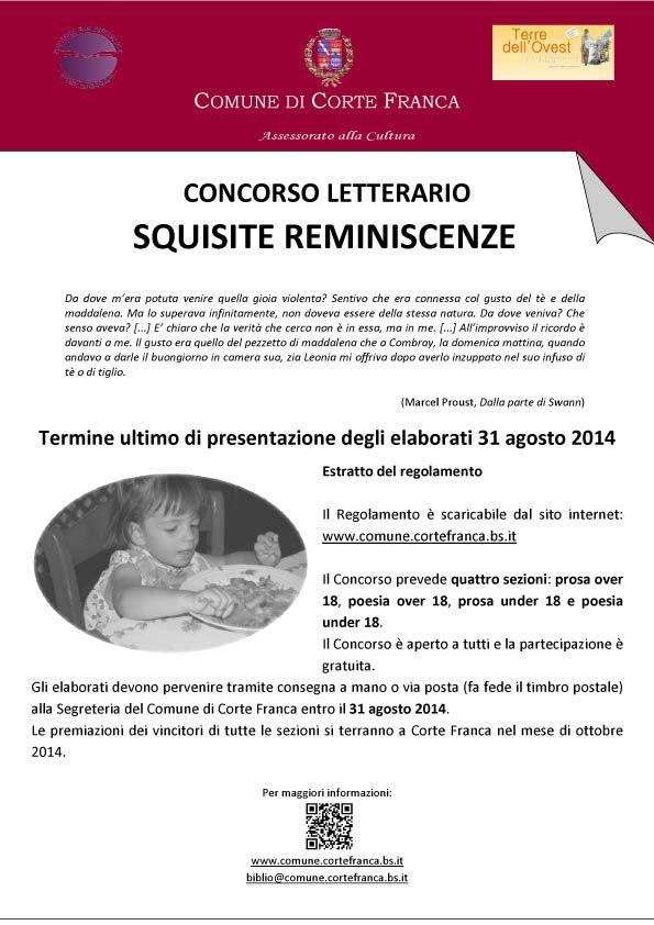 """CORTE-FRANCA Concorso Letterario 2014 """"Squisite Reminiscenze"""""""