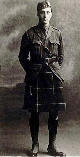 A rare photo of a kilted Basil Rathbone in World War I. He joined the London Scottish Regiment, eventually reaching the rank of captain in the Liverpool Scottish, 2nd Battalion. He was an intelligence officer and was very good with disguises. Rathbone won the Military Cross in 1918.