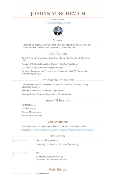 optometrist resume example