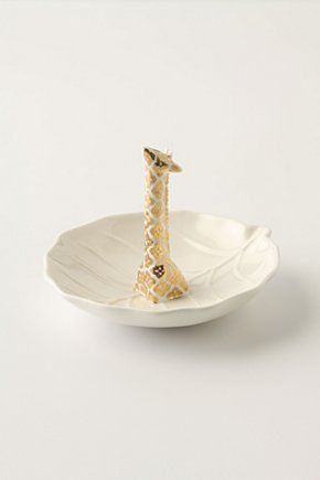 ring holder, love this!Giraffes Rings, Anthropology, Giraffes Obsession, Swimming Holes, Gold Rings, Things, Rings Holders, Hole Rings, Rings Dishes