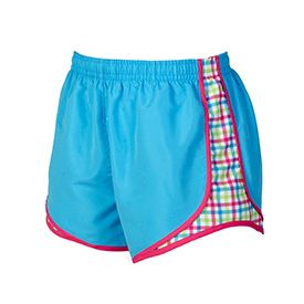 Electric blue and plaid athletic short.  Constructed from 2.4 oz 100% moisture wicking polyester, breathable mesh side panels, and contoured piping for increased range of motion.  Built-in polyester liner, perfect length, and adjustable tie-cord.  Modern style and interior key pocket. Sized Adult XS-XXL and Youth YS-YL.