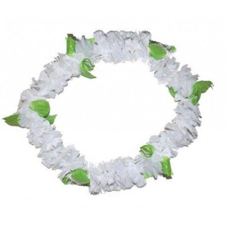 Collier Hawai blanc fleurs en tissu
