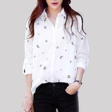 Женщины сладкий луна звезда шаблон рубашка свободного покроя отложным воротником с длинным рукавом блузка Camisas Femininas широкий рабочая одежда уютный рубашка(China (Mainland))