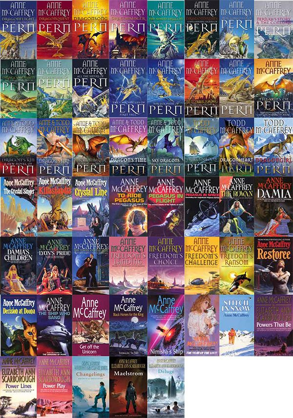 Anne-McCaffrey-books - I love the dragonriders of Pern but looking at theses images I have all these and more on my bookshelves!