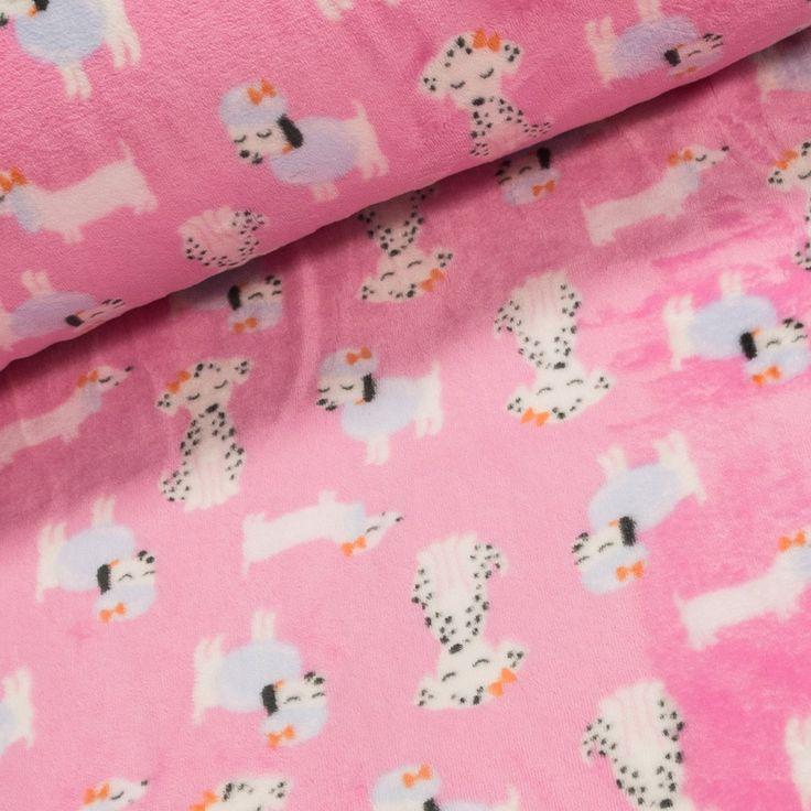 Mikroflanel / flanel fleece 127.687-0801 pejsci na růžové, š.150cm (látka v metráži) | Internetový obchod Chci Látky.cz
