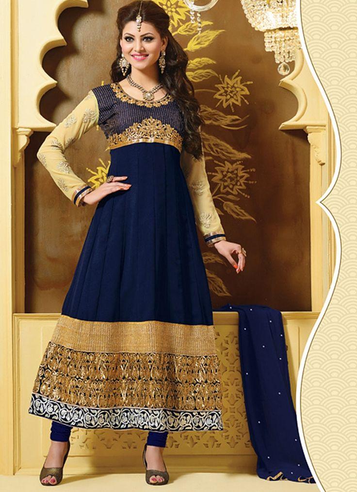 Supranatural Blue Georgette Anarkali Suit