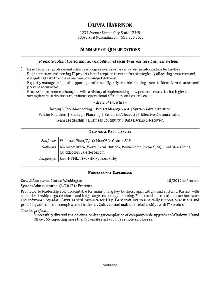IT Work Experience Resume Sample How to create an IT