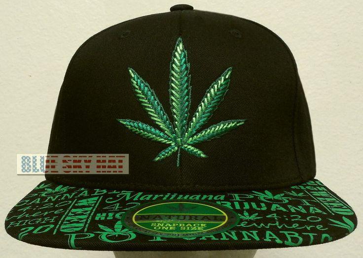 Marijuana high cannabis chronic kush pot hemp 4:20 weed plant cap hat  snapback