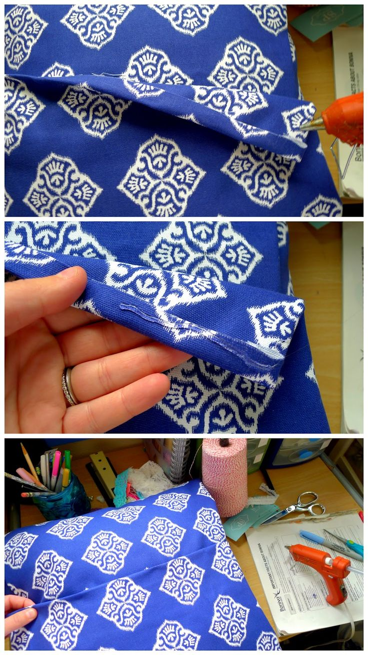 DIY: No- Sew Pillow Instead if hot glue, close with Velcro so case can be removed and washed!