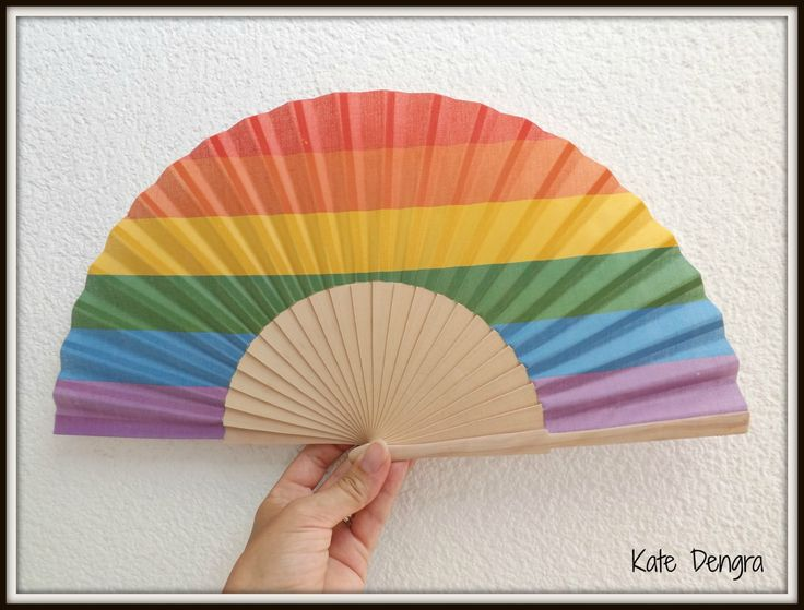 Rainbow Pride LGBT NEW Design Customized or Plain Flamenco Painted Wooden Folding Hand Handheld Fan by Kate Dengra from Spain by DengraDesigns on Etsy