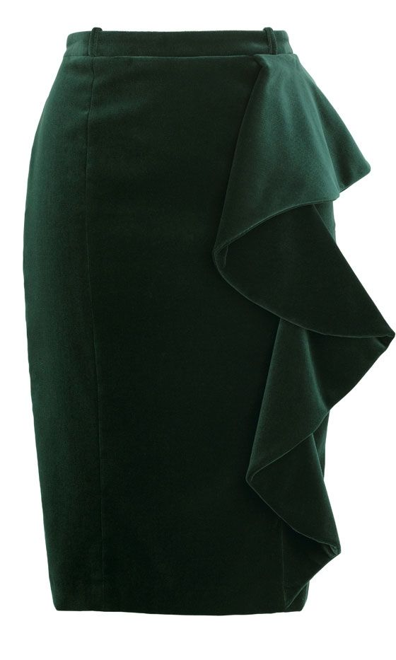 Marks And Spencer Dark Green Ruffle Pencil Skirt, £45
