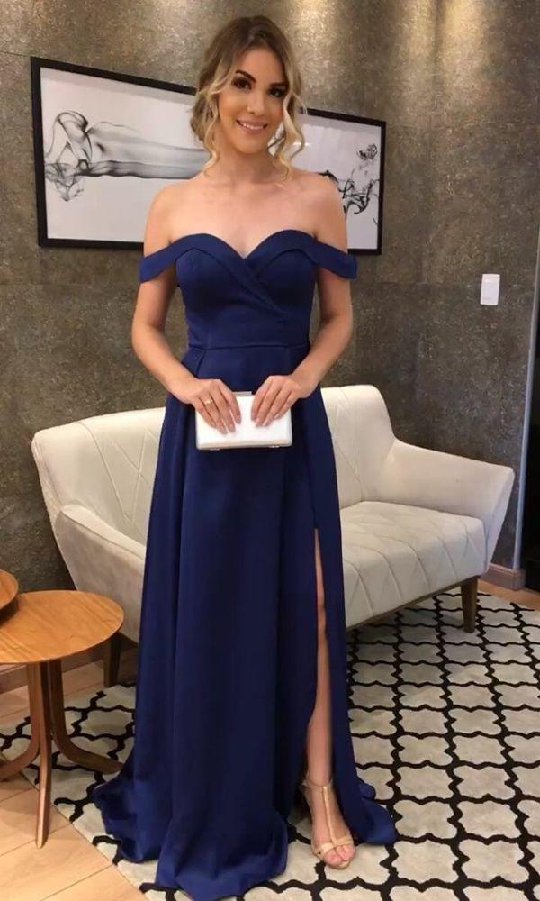 ccc31432a209 vestido de festa longo azul marinho com decote ombro a ombro e fenda ...