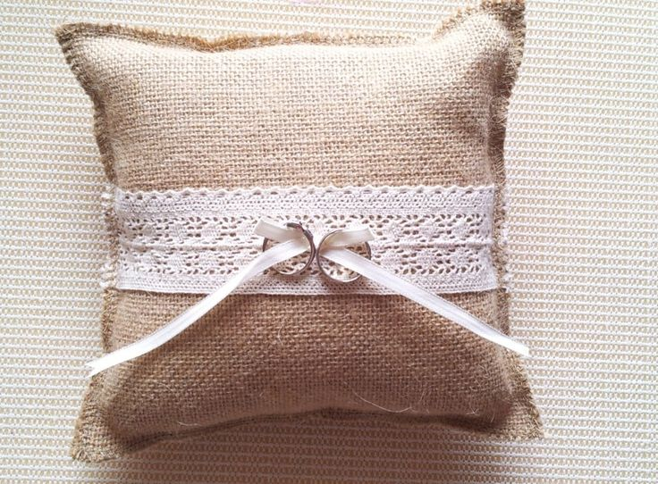 rustic country  hessian Burlap wedding ring bearer/  burlap ring pillow/lace bow ring cushion-in Decorative Flowers & Wreaths from Home & Garden on Aliexpress.com | Alibaba Group
