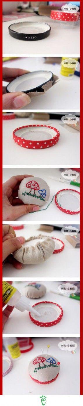 Surprise DIY-jar lids as pins cushions