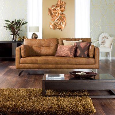 Click To Zoom Paris Leather Three Seater Sofa Tan
