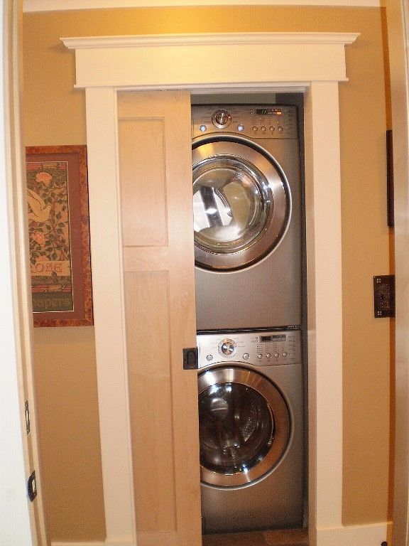 Stacked laundry with sliding door