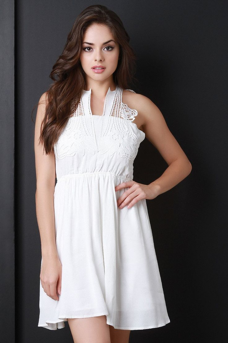 Crochet Lace Collar Cross Back Dress