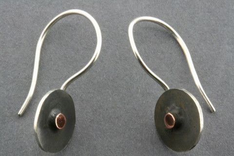 small oxidized & copper disc earring