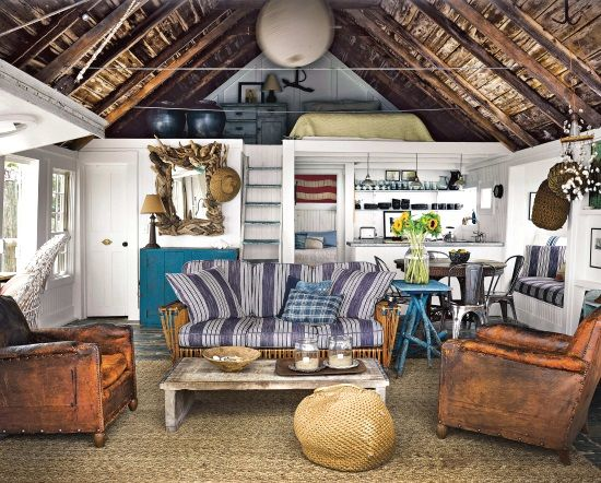 Ralph Lauren chic nautical beach cottage living: http://beachblissliving.com/beach-shack-living-on-a-pier-provincetown-cape-cod/