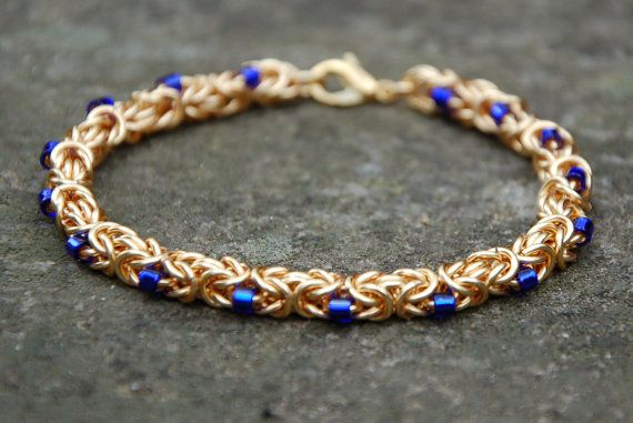 Gold Byzantine Chainmaille Bracelet by EnchantedLoot on Etsy, $42.00