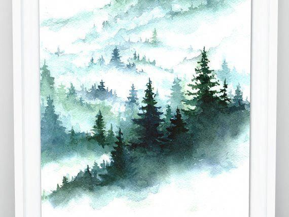 Foggy Forest Watercolor Forest Print Pine Forest Art Print Etsy