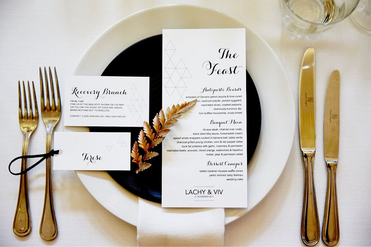 """LETTUCE & CO - STYLE. EAT. PLAY 'viv + lachy - modern art deco'. placesetting. custom designed stationery. guest menu """"the feast"""". chair placecards. recovery brunch invitation. copper sprayed fern leaf. wedding reception @ northcote town hall. concept, design and wedding styling by lettuce & co"""