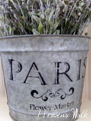 a Paris flower market stencil to put on your galvanized buckets