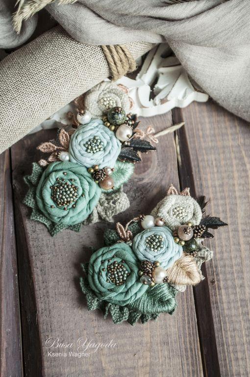 """Купить Броши """"Луговые"""" - морская волна, зеленый, луговые цветы, брошь ручной работы"""